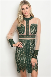 126-2-1-D8439 GREEN NUDE DRESS 2-2-2