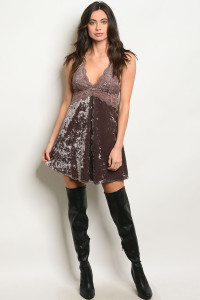 S18-4-1-D5515 BROWN VELVET DRESS 2-2-2