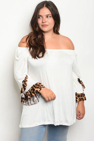 C90-A-4-T2014X IVORY PLUS SIZE TOP 2-2-2