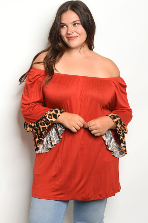 C92-A-5-T2014X RED PLUS SIZE TOP 2-2-2
