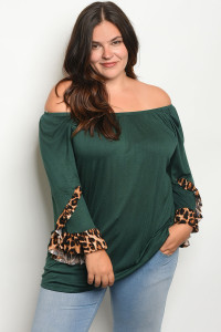 C94-A-2-T2014X GREEN PLUS SIZE TOP 2-2-2