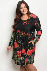102-A-2-D1041X BLACK FLORAL PLUS SIZE DRESS 2-2-2