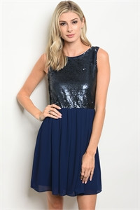 S18-4-4-D3096 NAVY WITH SEQUINS DRESS 3-2-1