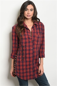 S18-5-3-T75218 RED BLUE CHECKERED TOP 3-2-1