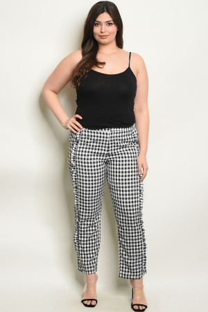 135-3-2-P6990X WHITE BLACK CHECKERED PLUS SIZE PANTS 2-1-2