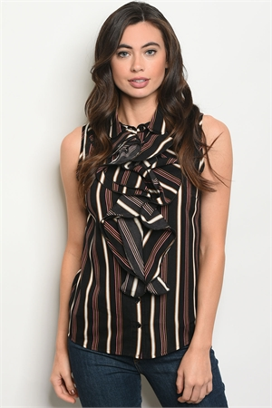 S18-8-4-T9055 BLACK PINK STRIPES TOP 2-2-2