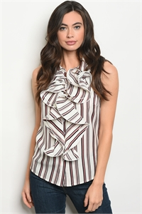 S18-8-4-T9055 WHITE MAUVE STRIPES TOP 2-2-2