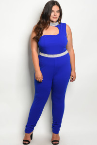 S13-12-4-J1146X ROYAL WITH STONES PLUS SIZE JUMPSUIT 2-2-2