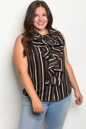 S18-7-2-T9055X BLACK WHITE STRIPES PLUS SIZE TOP 2-2-2