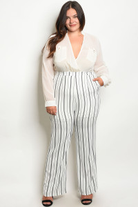 136-4-1-J9043X IVORY BLACK STRIPES PLUS SIZE JUMPSUIT 2-1-2