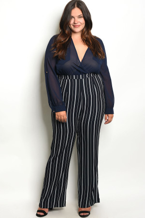 136-4-1-J9043X NAVY WHITE STRIPES PLUS SIZE JUMPSUIT 2-1-2
