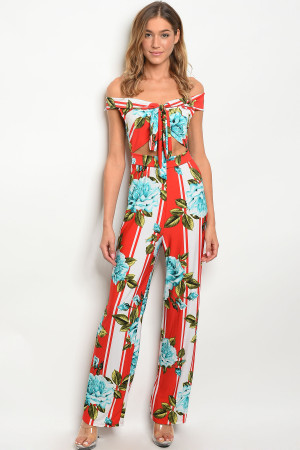 C16-A-6-J3260 RED WITH FLOWER PRINT JUMPSUIT 2-2-2