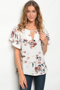 S18-8-6-T2249 OFF WHITE FLORAL TOP 2-2-2