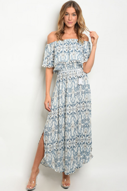 S19-6-2-D3259 OFF WHITE BLUE DRESS 3-2-2