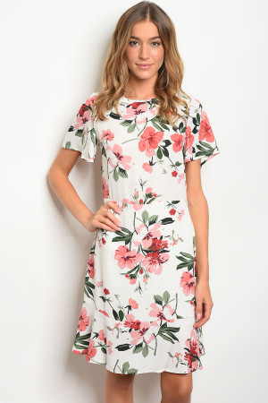 S18-7-5-D3294 OFF WHITE FLORAL DRESS 2-2-2