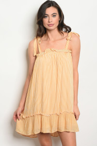 C53-A-1-D3067 MUSTARD IVORY STRIPES DRESS 1-2