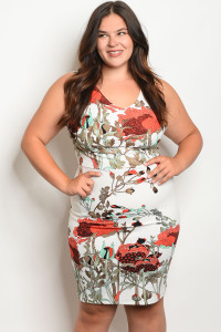 C23-A-2-D566X IVORY EARTH WITH FLOWER PRINT PLUS SIZE DRESS 2-2-2
