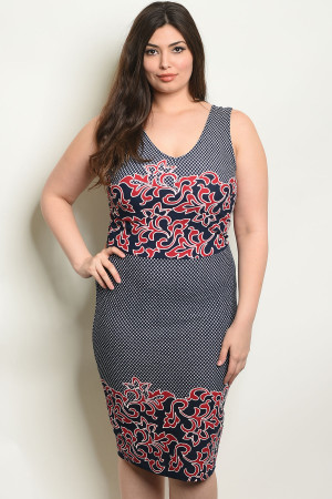 C22-A-1-D566X NAVY WINE PLUS SIZE DRESS 2-1