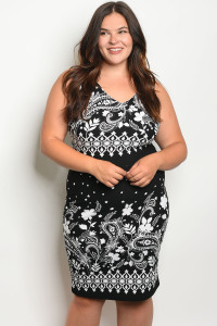 C22-A-1-D566X BLACK WHITE PAISLEY PRINT PLUS SIZE DRESS 2-2-3