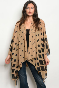 C68-B-6-C80133 TAUPE BLACK CARDIGAN / 6PCS