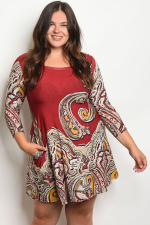 C67-A-1-D1017X BURGUNDY TAN PLUS SIZE DRESS 3-1-2