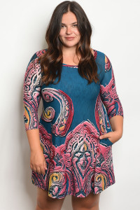 C68-A-7-D1017X TEAL PINK PLUS SIZE DRESS 2-2-2