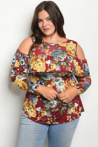 C74-B-3-T3035X BURGUNDY FLORAL PLUS SIZE TOP 2-2-2