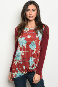 C89-B-5-T2001 BURGUNDY FLORAL TOP 2-2-2