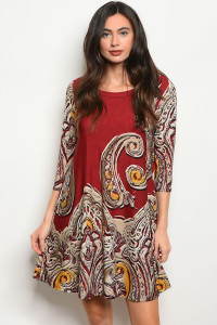 C81-A-3-D1017 BURGUNDY TAN DRESS 2-2-2