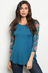 C76-B-1-T2030 TEAL WITH FLOWERS PRINT TOP 2-3-2