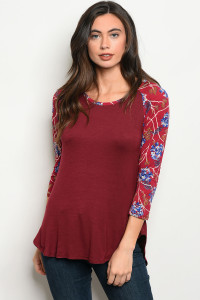 C71-B-3-T2030 BURGUNDY WITH FLOWERS PRINT TOP 2-2-2