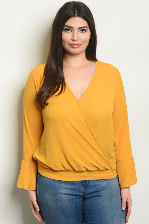 C10-A-3-T1392X MUSTARD PLUS SIZE TOP 2-2-2