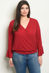 C14-A-6-T1392X BURGUNDY PLUS SIZE TOP 2-2-2