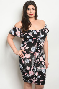 C18-A-2-D1763X BLACK PINK PLUS SIZE DRESS 2-2-2