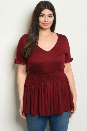 C21-B-1-T1422X BURGUNDY PLUS SIZE TOP 2-1-2