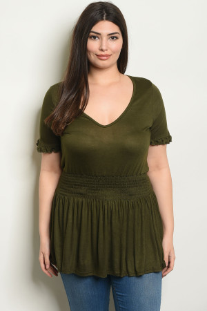 C22-A-3-T1422X OLIVE PLUS SIZE TOP 2-2-2