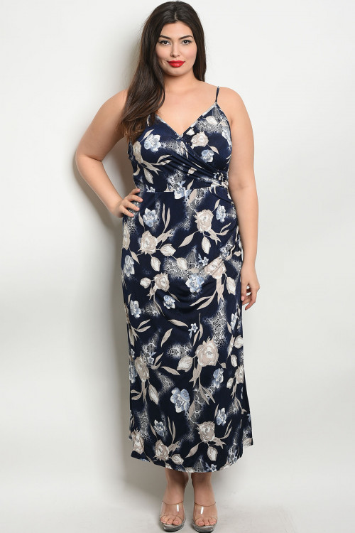 C30-A-7-D1529X NAVY BLUE PLUS SIZE DRESS 2-2-2