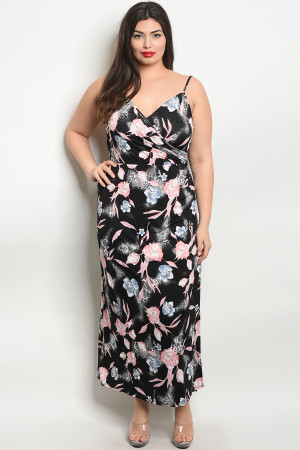 C29-A-1-D1529X BLACK PINK PLUS SIZE DRESS 1-2-2