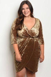 C42-A-2-D1371X GOLD VELVET PLUS SIZE DRESS 2-2-2