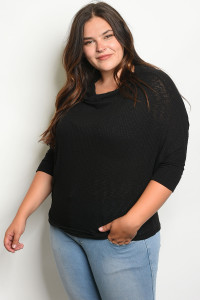 C44-B-5-T1461X BLACK PLUS SIZE TOP 2-2-2