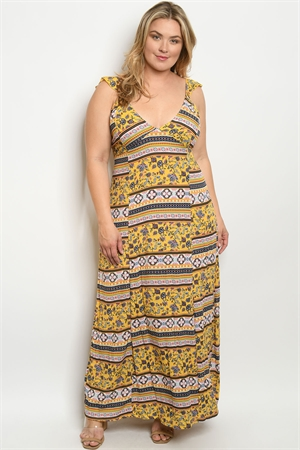 C38-A-1-D1687X YELLOW MULTY FLORAL PLUS SIZE DRESS 1-1-1