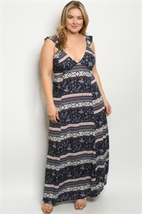 Y-B-D1687X NAVY MULTY FLORAL PLUS SIZE DRESS 2-2-2