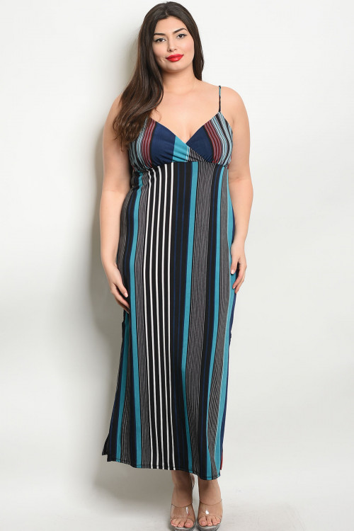 C9-A-4-D1670X BLACK TEAL PLUS SIZE DRESS 2-2-2