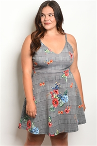 C6-A-3-D1509X BLACK FLORAL PLUS SIZE DRESS 2-2-2