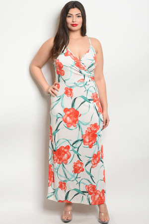 C7-A-1-D1529X IVORY FLORAL PLUS SIZE DRESS 2-1-1