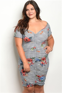 C10-A-1-D1434X NAVY FLORAL PLUS SIZE DRESS 2-1-1