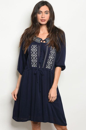 S13-12-1-D9827 NAVY WHITE DRESS 2-2-2