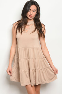 S17-12-5-D4439 TAUPE DRESS DRESS 2-2-2