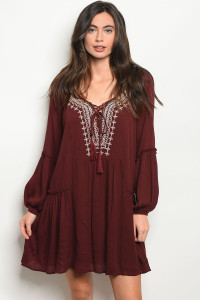 S17-12-5-D10472 MAROON DRESS 2-2-2