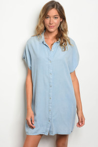 S18-10-1-D3062 LIGHT BLUE DENIM DRESS 2-2-1
